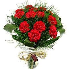 Lindo bouquet com doze cravos vermelhos, folhagens e acabamento com celofane e ráfia