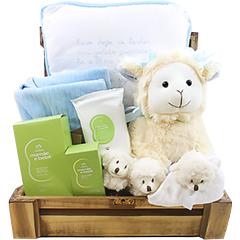 Baú repleto de surpresas - uma ovelhinha de pelúcia, uma mantinha super fofa, uma almofada bordada com a prece do anjo da guarda, um kit de produtos miniatura Natura para bebê, um par de pantufas e um blanket.