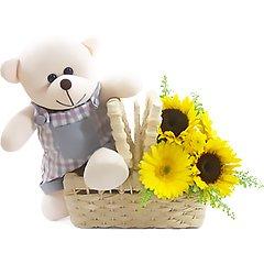 Um ursinho fofo e flores campestres como o girassol e a gérbera para iluminar o dia!