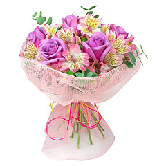 Esplendoroso bouquet em tons de lilás e rosa. Confeccionado com rosas liláses, alstroemérias rosa e folhagens. Segue finamente embalado com tela nos mesmos tons.