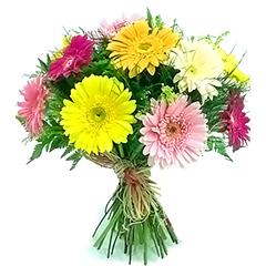 Alegre bouquet com aproximadamente 10 gérberas coloridas.