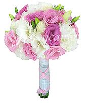 Lisianthus brancos e cor de rosa/liláses, com acabamento em laço de cetim e fita.