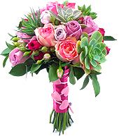 Exótico e gracioso bouquet de noiva com rosas importadas, nacionais e suculentas