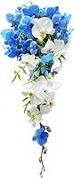 Bouquet de noiva confeccionado com orquídeas phalaenopsis brancas e azuis