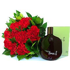 Delicioso perfume amadeirado masculino Humor de Natura com belíssimo bouquet de cravos vermelhos