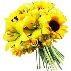 Bouquet em tons de amarelo com lindas flores mistas para atrair prosperidade.