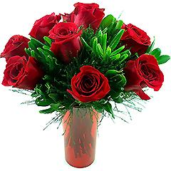 Vaso de acrílico contendo dez rosas tipo exportação