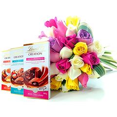 Colorido bouquet com aprox 30 rosas nacionais tipo exportação e folhagens. Acompanha 3 deliciosas sobremesas LINDT!!!