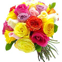 Vinte rosas coloridas nacionais compõem este colorido bouquet.