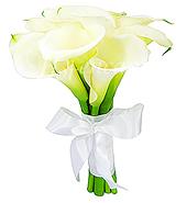 Bouquet de noiva confeccionado com copos de leite e acabamento em cetim branco com laço.