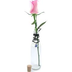 Uma original garrafa para uma linda rosa nacional solitária e um cordão com a pedra de quartzo azul, que é Pedra da Comunicação, equilíbrio e da Calma e está representando o signo de Libra.