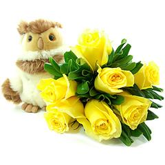 Uma fofíssima coruja guardiã de um alegre bouquet de rosas amarelas colombianas