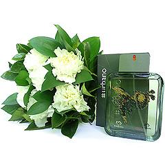 Delicioso perfume masculino Urbano de Natura com um apanhado charmoso de cravos brancos.