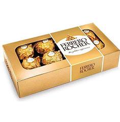 Caixa contendo 8 deliciosos bombons Ferrero Rocher.