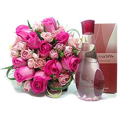 Colônia desodorante com notas florais e frutais exóticas junto com um belo bouquet de rosas nacionais.