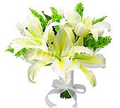 Bouquet de noiva de lírios brancos e folhagens, com acabamento de fita brança e pequeno laço.