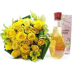 Notas quentes, envolventes e sensuais nessa colônia desodorante Boticário que acompanha um lindo bouquet de rosas nacionais.