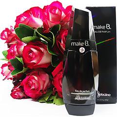 Um delicioso perfume feminino Make B Boticario com um buquet de rosas nacionais.