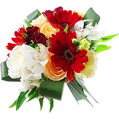 Delicado bouquet em tons de branco, champagne e vermelho, contendo rosas, gérberas e alstroemérias.