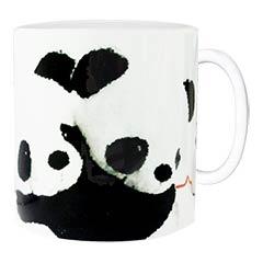Caneca de cerâmica romântica com o casal panda!