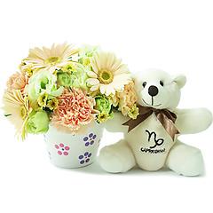 Um delicado e surpreendente arranjo de flores mistas em tons de branco e marfim que acompanha o ursinho exclusivo capricorniano, celebrando a responsabilidade, persistência e esforço tão característicos desse signo.