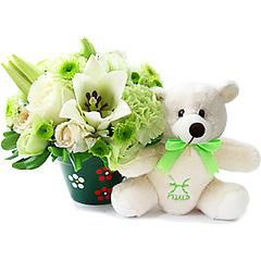 Um delicado e surpreendente arranjo de flores mistas em tons de branco e verde que acompanha o ursinho exclusivo pisciano, celebrando a solidariedade, sensibilidade e intuição tão características desse signo.