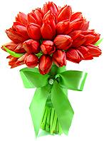 Aproximadamente oitenta tulipas vermelhas conferem sofisticação e romantismo à este especialíssimo bouquet de noiva