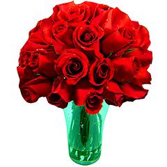 Vaso de acrílico com aproximadamente 30 rosas vermelhas nacionais tipo exportação.