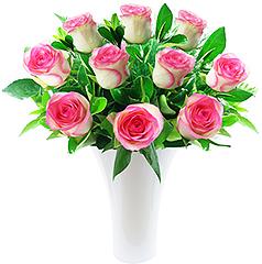 Delicadas rosas nacionais cor de rosa em vaso de acrílico.