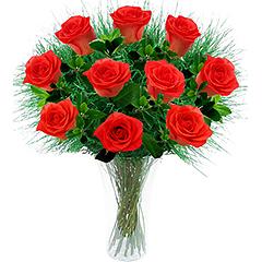 Lindas rosas nacionais laranja em vaso de acrilico.