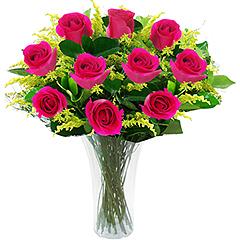 Doze maravilhosas rosas nacionais pink em vaso de acrilico.